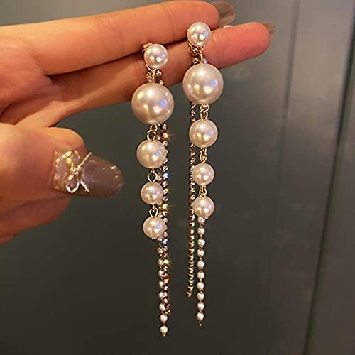 Landia 14K Pendientes de Borla de Perlas chapados en Oro Real para Mujeres AAA Superior Brillante circonita S925 Plata Aguja Stud joyería Regalo