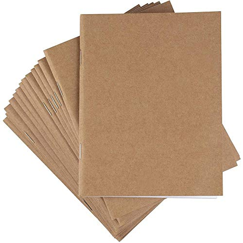 Kraft Paper Notebook, Blank Lined Journal (4.25 x 5.5 in., 48 Pack)