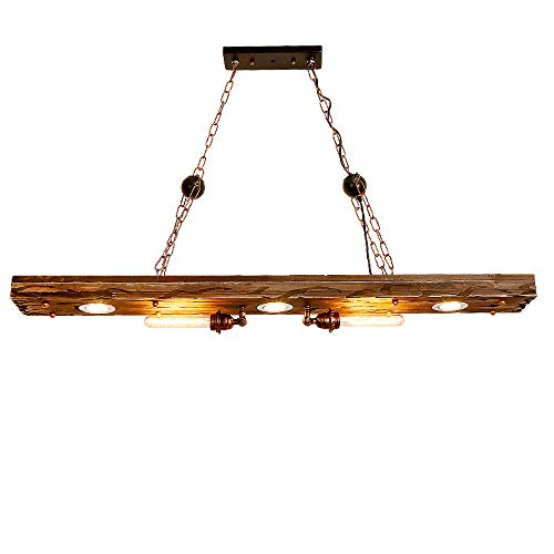 Lampadario Lampada a sospensione vintage industriale per soggiorno Bar Ristoranti Caffetteria Decorazione per club Illuminazione a soffitto Metallo legno E27 (5-LIGHTS)