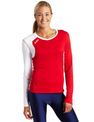 ASICS Women's Digg Long Sleeve, Red/White, Small