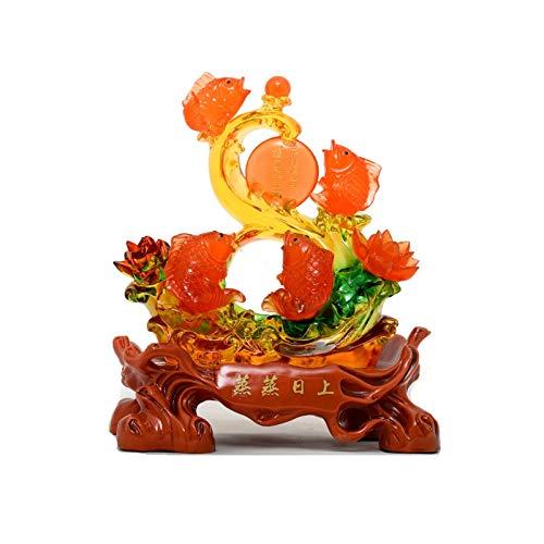 Buddha Statue Feng Shui Fish Statue Feng Shui Decor Home Office Dekoration Tischdekor Ornamente Gute Glücksgeschenke Handgemachte Arowana Fish Statue Buddha
