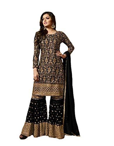 Range Of India Women's Anarkali Salwar Kameez Designer Indian Dress Party Embroidered Gown Black
