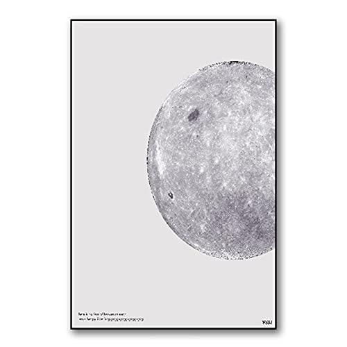 CERISIAANN Pôster de arte de parede com pintura em tela HD, estilo espaço lunar, imagem suspensa para sala de estar e quarto