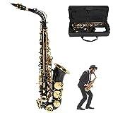 E Flat Sax Set Conjunto de saxofón alto, conjunto de saxofón de latón, conjunto de instrumentos de música electroforesis dorada para músicos principiantes, decoración de regalos, música(black)