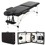 Cama de masaje plegable, 2 secciones, mesa de masaje de aluminio, portátil, con agujero para la cara + reposacabezas + soporte para el brazo, carga máxima de 500 libras