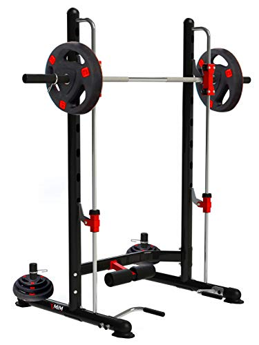 MiM USA Compact Smith and Squat Rack Pro Multi Functions Rack Smith Workout Squat Dip Up Sit Up All in One Home Gym Super Pro Rack