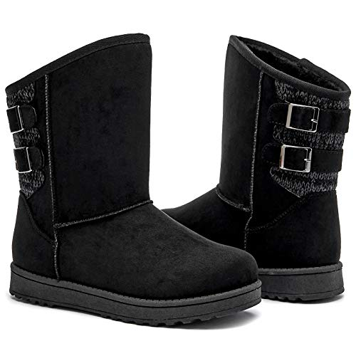 FRACORA Womens Snow Boots Fur Lined Boots Winter Warm Mid Calf Boots for Women(Black,US7.5)