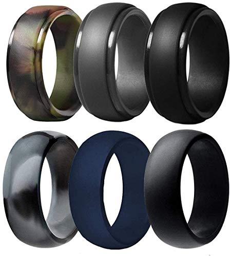 Silicone Wedding Ring for Men, 6 Pack Breathable Silicone Rubber Wedding Bands Thin Silicone Ring - 8.7 mm Wide(Camo,Blue,Dark Grey,Black) (Camo,Blue,Dark Grey,Black, Size 10 - (19.76 mm))