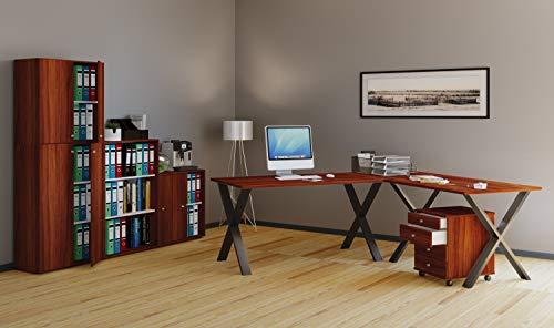 VCM Eckschreibtisch, Schreibtisch, Büromöbel, Computertisch, Winkeltisch, Tisch, Büro, Lona 160x130x50: Kern-Nussbaum