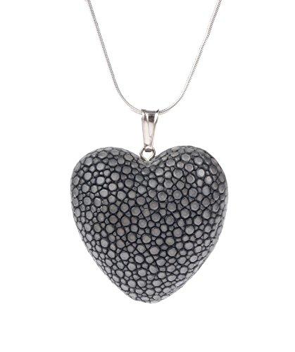 Felex Stingray Halskette mit Herz aus Rochenleder Herzkette castor gray