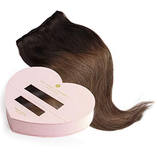 THE HEART COMPANY Premium Clip-in Extensions Echthaar (10 Clip-in Haartressen 160g Set) Länge 50 cm - Farbe Ombre Hazelnut - Balayage