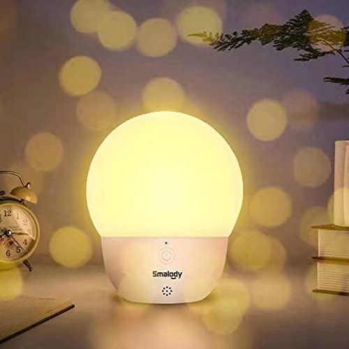 Lámpara activada por voz, Smalody Innovative LED Smart Light Blub Luz portátil inteligente controlada por voz, reconocimiento de voz Luz nocturna - Fuera de línea (No necesita WiFi)