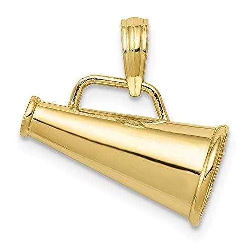 10ct Yellow Gold 3-D Small Megaphone Pendant