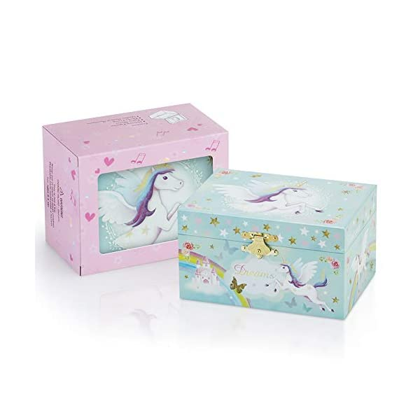RR ROUND RICH DESIGN Kids Musical Jewelry Box for Girls and Jewelry Set with Magical Unicorn - Blue Danube Tune Pink 5
