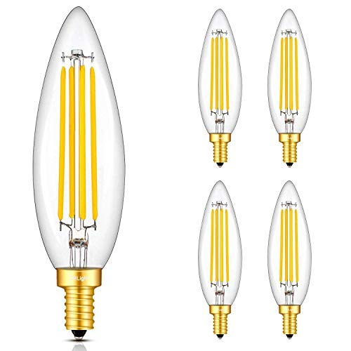 CRLight 8W LED Candelabra Bulb 3000K Soft White 80W Equivalent 800LM, E12 Base Dimmable LED Filament Candle Bulbs, Upgraded Lengthened & Enlarged B11 Clear Glass Torpedo Shape, Pack of 4