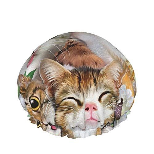 Gorro de ducha para mujer pelo largo lindo gatito facial impermeable reutilizable