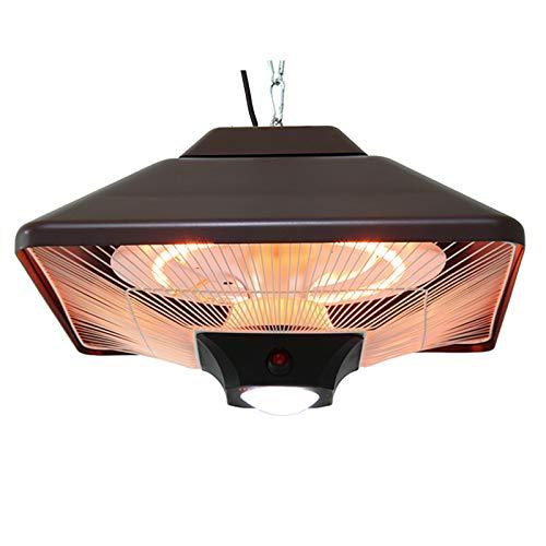 DJLOOKK Patio Elektrische Heizungen, 2000W Infrarot Hängende Außenheizung mit LED-Licht, Überhitzungsschutz, Für Garten Innen