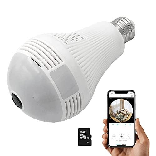 Light Bulb Camera, 360 Panoramic Camera, Full HD 1080P Home Camera, 2.4GHz WiFi Camera with 16G SD Card, Dome Surveillance Cameras, Home Baby、Pet Monitor