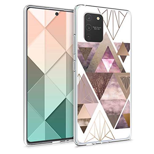 kwmobile Hülle kompatibel mit Samsung Galaxy S10 Lite - Handyhülle - Handy Hülle Glory Dreieck Muster Rosa Rosegold Weiß