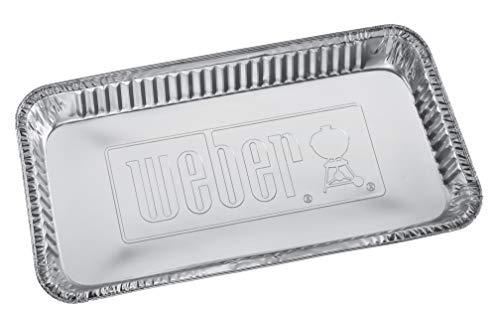 Weber 6454 Alu-Tropfschalen 22 x 42 cm, 5 Stück, Einwegschalen, Fettauffangschalen