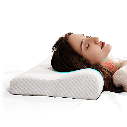 Cervical Memory Foam Pillow-2 Pillowcases,Contour Pillows for Neck and Shoulder Pain,Ergonomic Orthopedic Sleeping Neck Contoured Support Pillow for Back Side and Stomach Sleeper