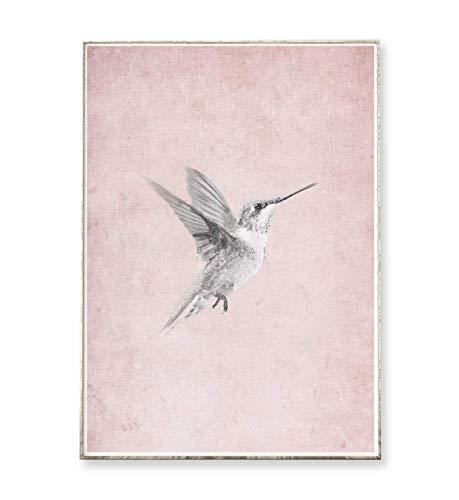 Kunstdruck Poster Bild VINTAGE KOLIBRI -ungerahmt- Vogel Dekoration Wohnzimmer Schlafzimmer