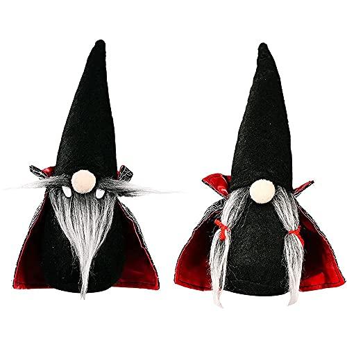 HBLJ Halloween Witch Cloak Hat Navidad Decoración de la Mesa, Adornos a Mano Halloween Enano, Halloween Peluche Elf Juguetes, Holiday Halloween Table Regalos (Color : Black, Size : 23cm)
