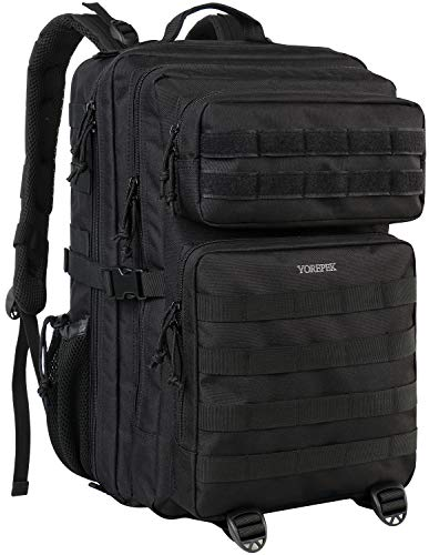 YOREPEK Military Backpack for Men, Large Tactical Backpack Army Rucksack 3 Day Assault Pack Molle Bug Out Bag,Functional Daypack for Outdoor Travel Hunting Trekking Camping Hiking Shooting 42L,Black