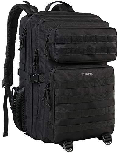 Groß Militär Rucksäcke Herren, 45L Tactical Rucksack Molle Bag Wasserabweisend Army Assault Pack Bag Outdoor Rucksack für Wandern Jagd Trekking Camping und Outdoor Aktivitäten
