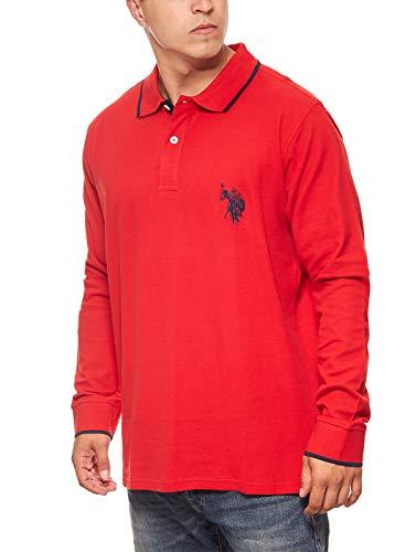 U.S. POLO ASSN. Shirt Sweatshirt Herren Polo-Langarmshirt Longsleeve Rot 197 42608 51887 155, Größenauswahl:L