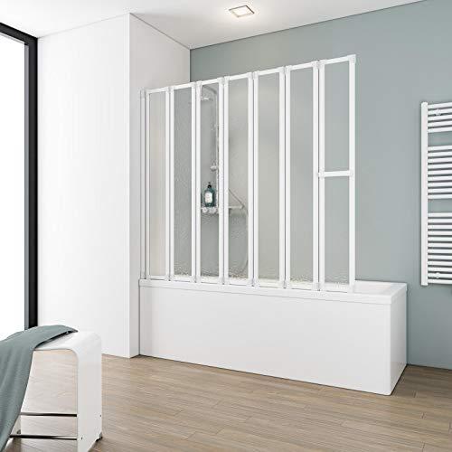Schulte Duschabtrennung faltbar für Badewanne, 159 x 140 cm, einfacher Aufbau, Kunstglas Softline hell, Alpinweiß, Made in Germany, D1317 04 01