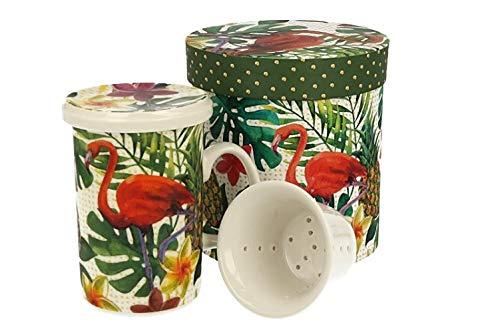 Duo Tropical Collection - Taza de té (320 ml, colador de porcelana china, en caja de regalo), diseño de flamencos