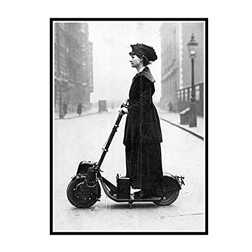 ZYHD 1916 Scooter Woman Posters And Prints Wall Art Canvas Painting Vintage Picture For Living Room Salon Decoration -50x70cm No Frame 1 Pcs