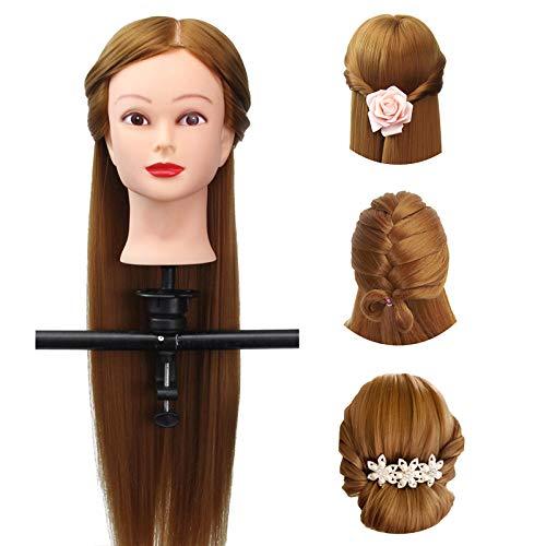 Übungskopf, Luckyfine Braun 18 zoll langes glattes haar übungskopf Frisierkopf Mannequin Ausbildung Kopf mit Halter, Geschenk für Weihnachten