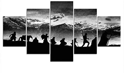 5 Piezas Lienzos Cuadros Pinturas Anillo del Diablomodernos Impresión Imagen Artística El Arte Pared del Hogar Salón Oficina Decoración Sin Marco