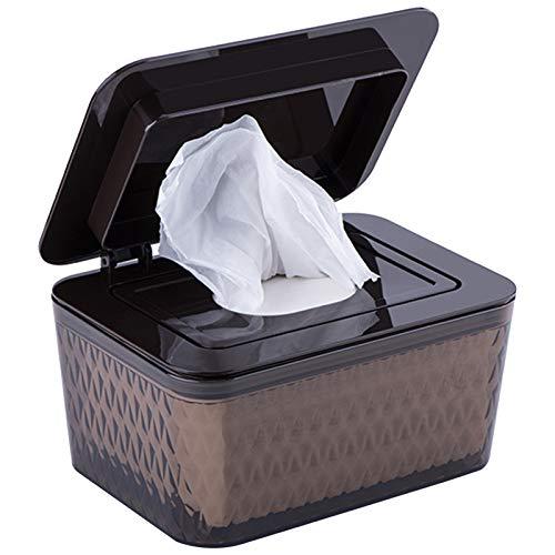Caja de almacenamiento para toallitas húmedas, caja de pañuelos húmedos, caja de plástico para bebé, toallas, caja de toallitas húmedas para bebé (marrón)