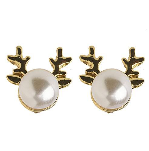 Zoelibat 97660041.001 – Pendientes de ciervo con perlas, 1 par, pendientes, bisutería, regalo, Navidad, invierno