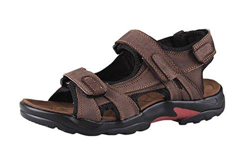 SK Studio Homme Sandales de Marche Ajustable Grand Tailles Sandales en Cuir Bout Ouvert Chaussures Marron 41 EU