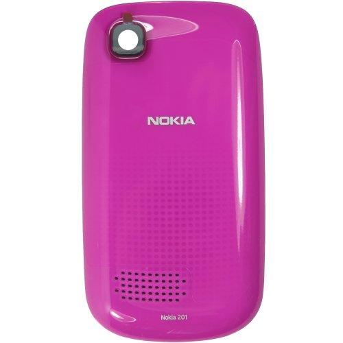 Original Nokia Akkudeckel für Nokia Asha 200, 201 - pink (Akkufachdeckel, Batterieabdeckung, Rückseite, Back-Cover) - 0259450