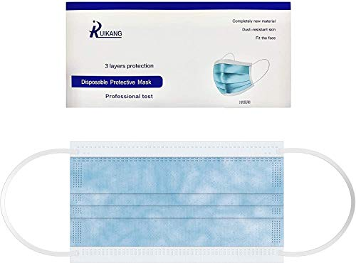 RUIKANG Disposable 3-ply Face Masks, Lab Tested ASTM Level 2 Protection, Blue (50 Count)