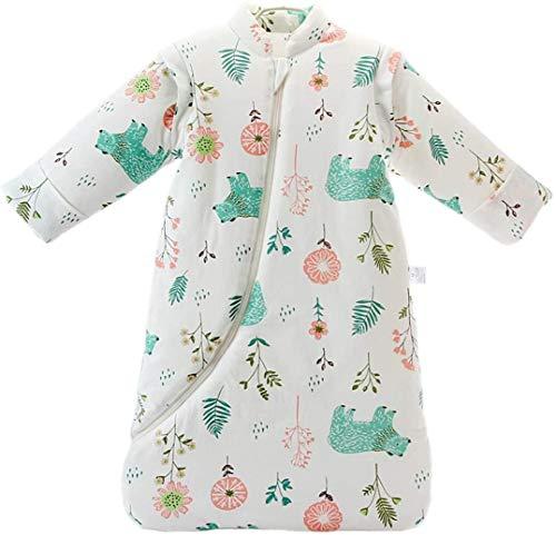 Junqin inviernobebé Anti-Retroceso Colcha artefacto Bolsa de transición Pijamas de Coche para niños algodón Engrosamiento Saco de Dormir para bebé, Mangas Desmontables, Altura 66-95 cm-Blue||S