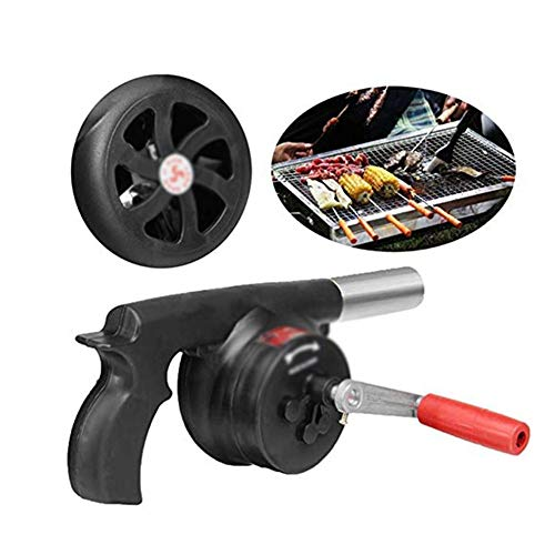 Dongbin Portable Mini Manual Hand Crank Fan air Blower, Manual Grill Flame fire Starter Exciter for BBQ Picnic Outdoor Camping Hiking Cooking, Black