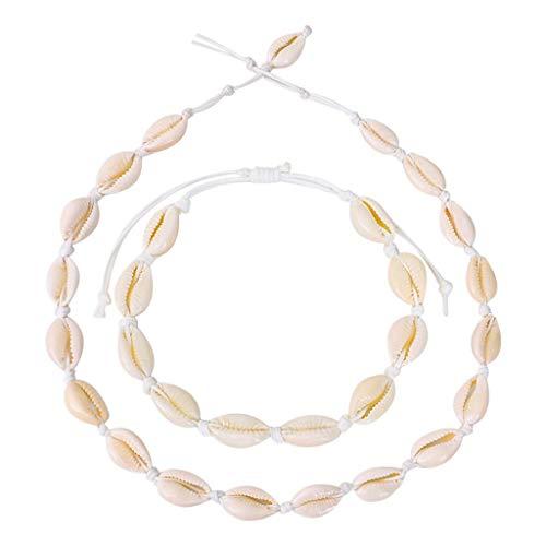 Vendimia Concha Natural Turquesa Blanca Collar Pulsera Regalo De La Joyería De Las Mujeres