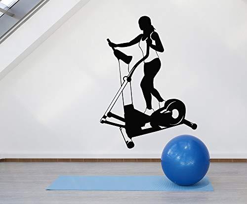 tong99 Adesivo da Parete in Vinile Fitness Donna Tapis roulant Sport da Donna Palestra Sport Bodybuilding Club Decorazione per la casa Adesivi d'Arte 57x78cm