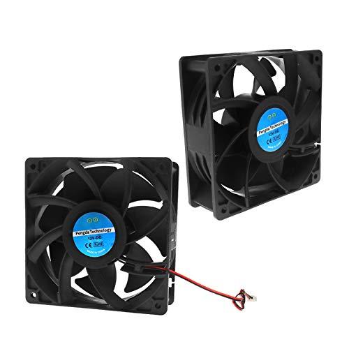 Create Idea - 2 ventiladores de refrigeración DC motor 2 rodamientos, bola 12 V 0,6 A con CE para PC, 120 x 120 x 38 mm