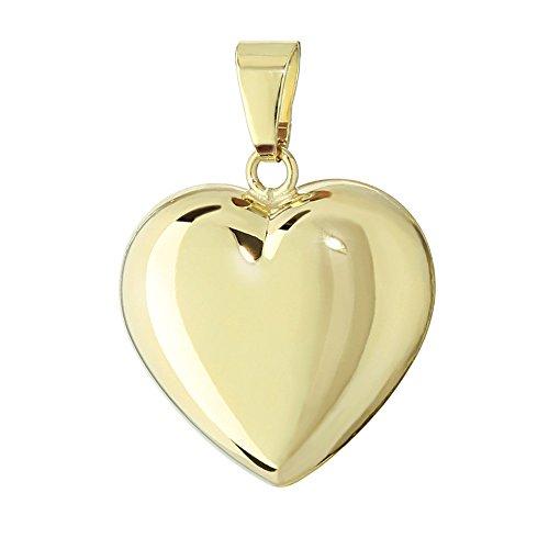 NKlaus 333 oro amarillo oro corazón colgante cadenas pulidas 16x15,5mm damas chicas 4764