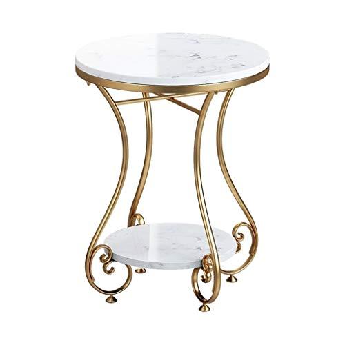 Table d'appoint/Table à thé élégante, comptoirs de Rangement Doubles, Cadre élégant en Fer forgé pour décor à la Maison Moderne, Rond, Or