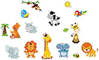 Animaux de la jungle Stickers muraux chambre d'enfants Home Decor jungle safari vinyle Kids Room Decal Baby Room Decor 142...
