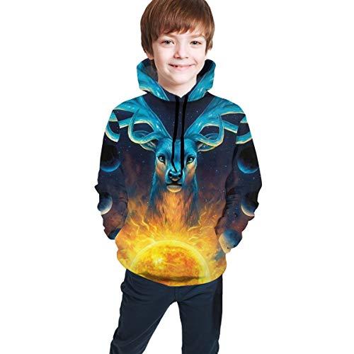 3D Druck Planet Elch Youth Sweatshirt Hipster Hip Hop Pullover Gr. 14-16 Jahre, Schwarz
