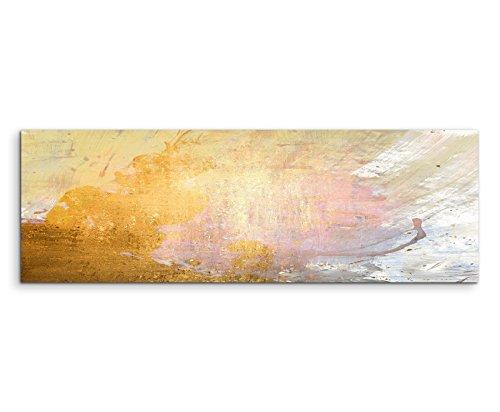 120x40cm Panoramabild abstrakt Leinwanddruck Kunstdruck Wandbild gelb beige grau weiß gemalt